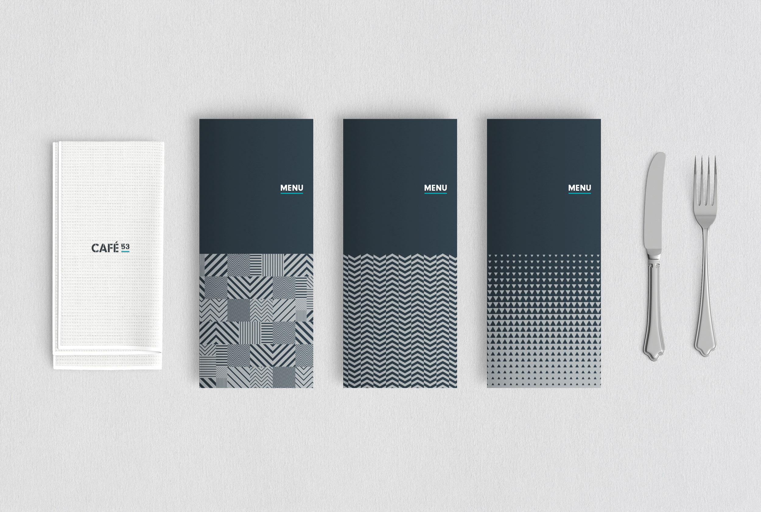 Flight Deck 53 Cafe identity and menus – Design by Ian Whalley