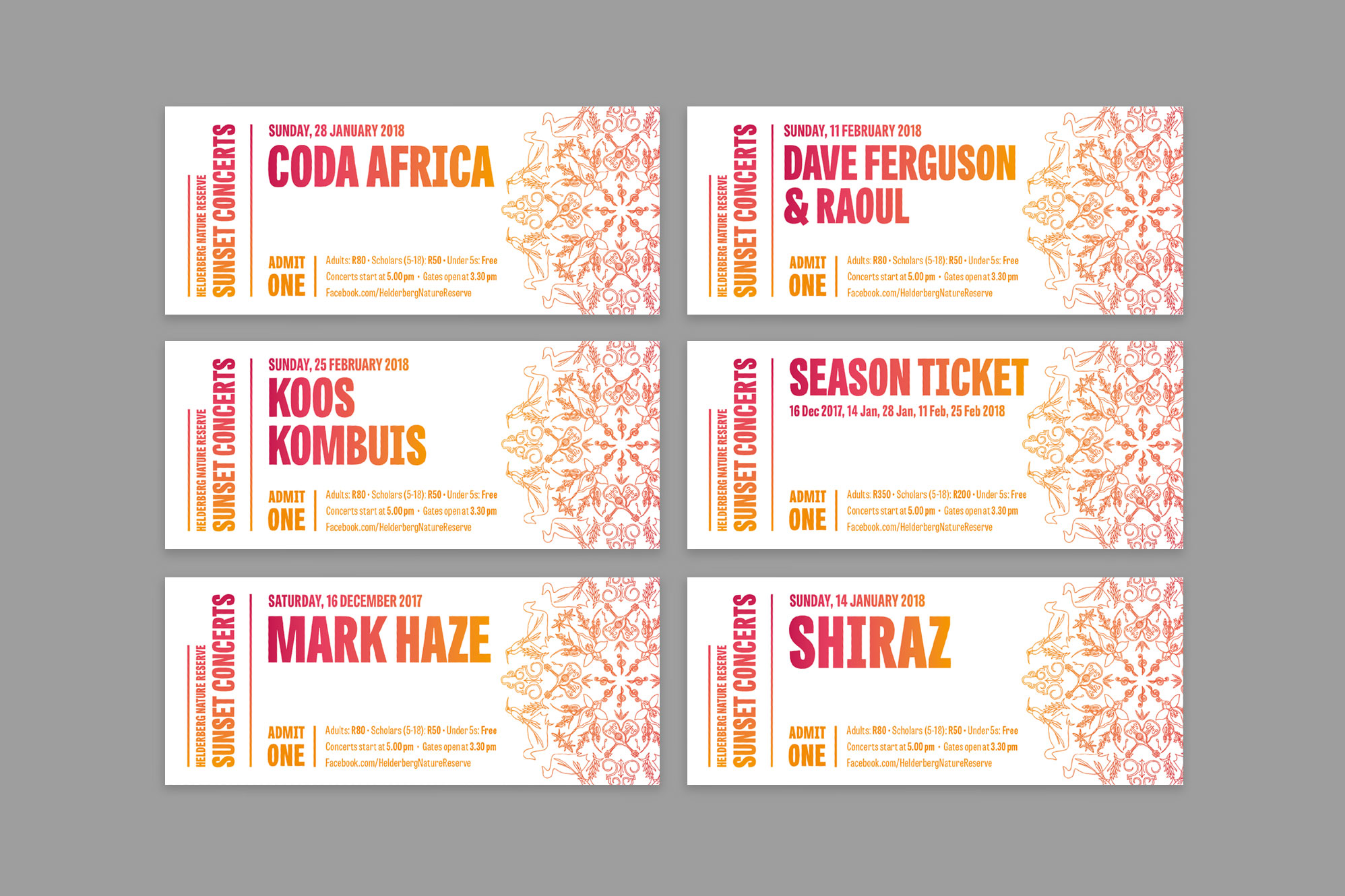 Sunset Concerts tickets – design by Ian Whalley
