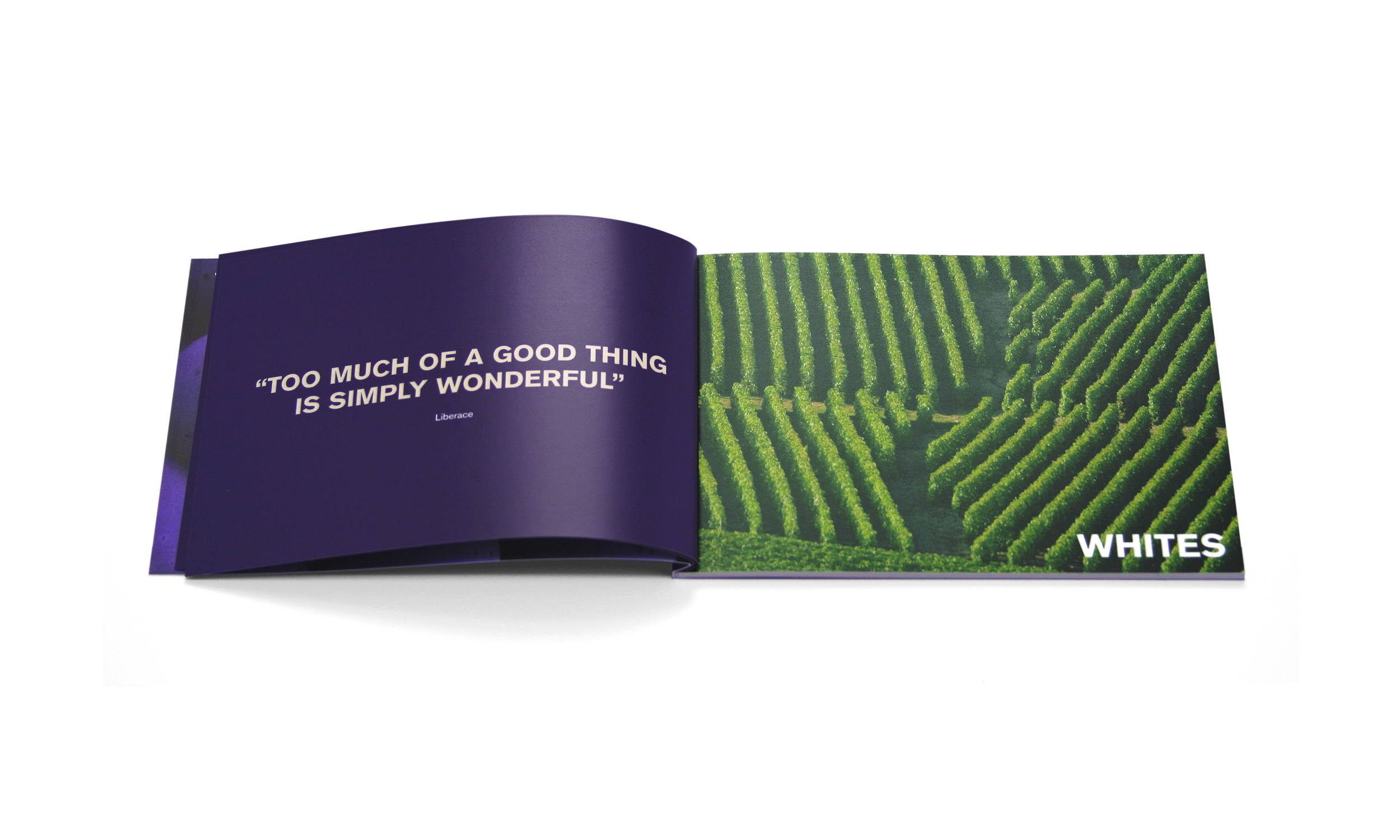 Unwined – small book of wine catalogue spread – Design by Ian Whalley