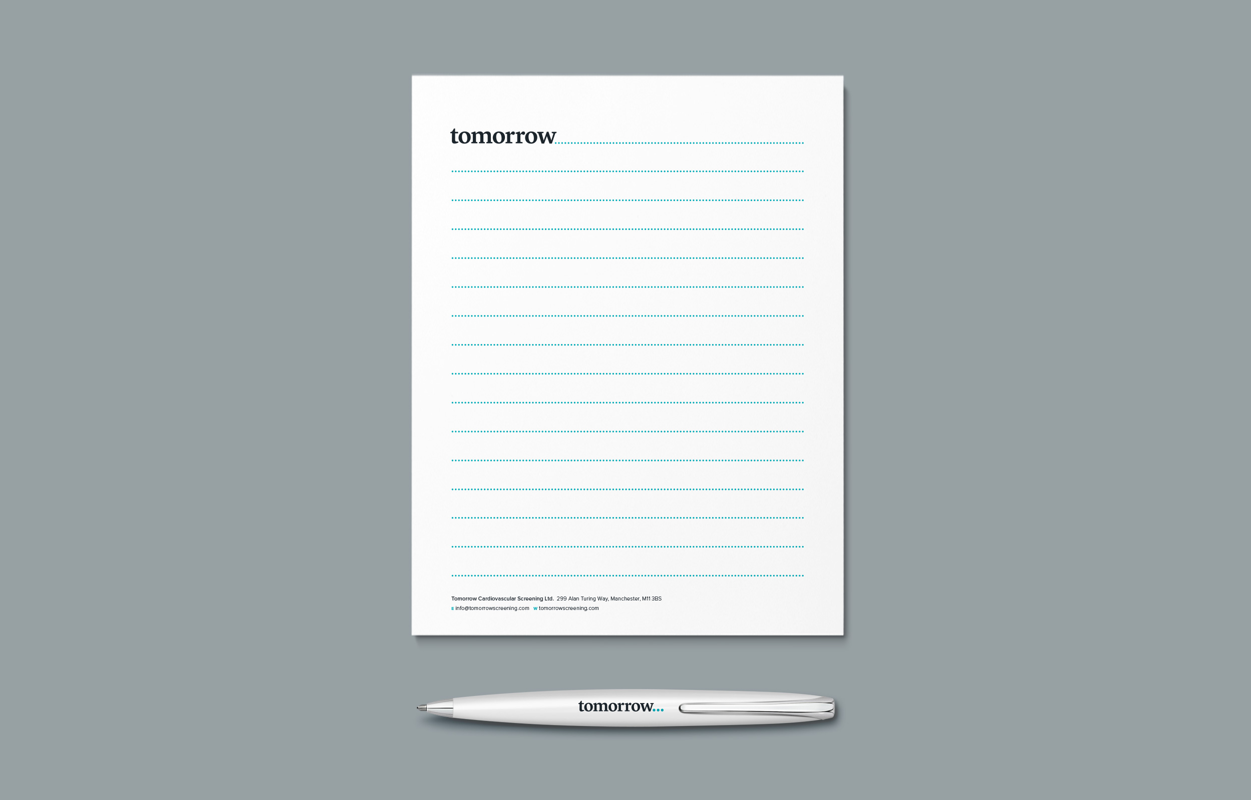 Tomorrow Screening note pads and pen – design by Ian Whalley