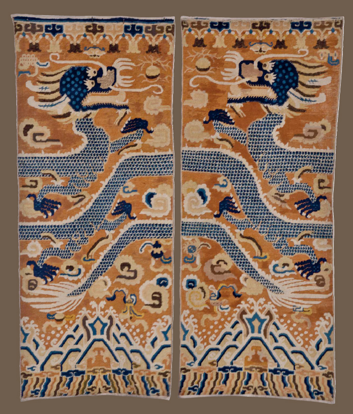 A Pair of Ningxia Pillar Rugs, North China, Early 19th Century. Estimate $ 10,000 - $ 15,000.  Prize realised $ 50,000.    Image: ©Christie's Inc.