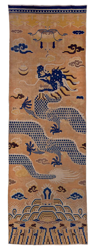 ANingxia Pillar Rug, North China, Early 19th Century. Estimate $ 10,000 - $ 15,000.  Prize realised $ 35,000.   Image: ©Christie's Inc.