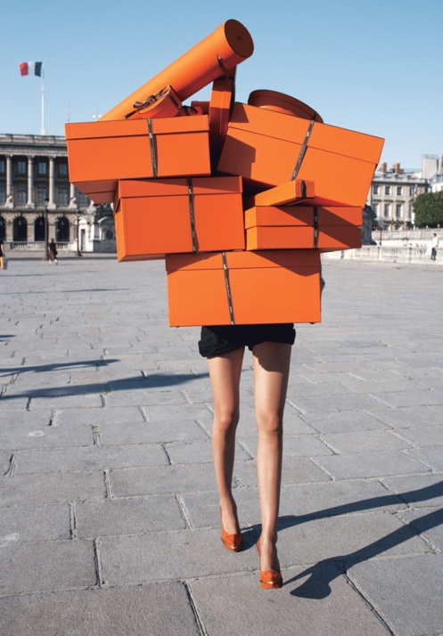 Hard to tell if I'm more jealous of her legs or the boxes? Maybe we'll just agree I'm equally envious of both.