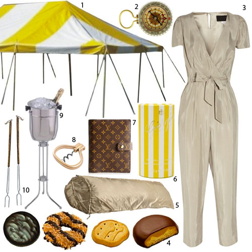 1.  Yellow and White Striped Tent , $1400; 2.  Glow in the Dark Compass , $5; 3.  J.Crew Satin Jumpsuit , $300; 4.  Girl Scout Cookies , $4; 5.  Desert Sleeping Bag , $84; 6.  Giorgio Body Powder , $2; 7.  Louis Vuitton Agenda Book , $535; 8.  Pocket Corkscrew , $54; 9.  Champagne Stand , $30; 10.  Marshmallow Skewers , $34/set of 9