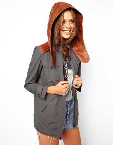 Canvas Leather Hooded Jacket