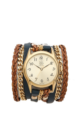 Leather and Chain Wrap Watch