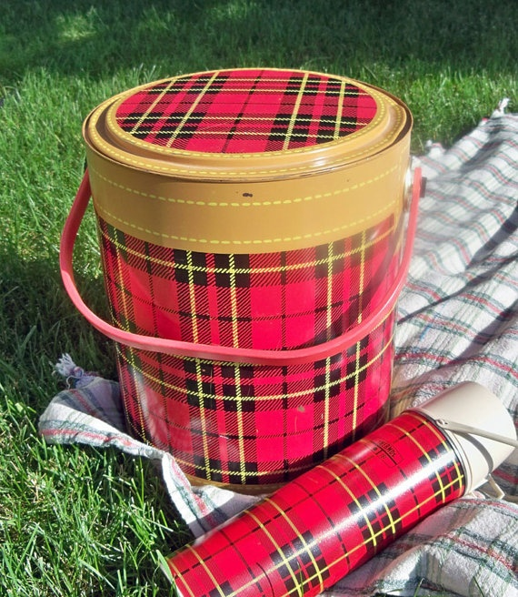 Vintage Plaid Ice Chest and Thermos