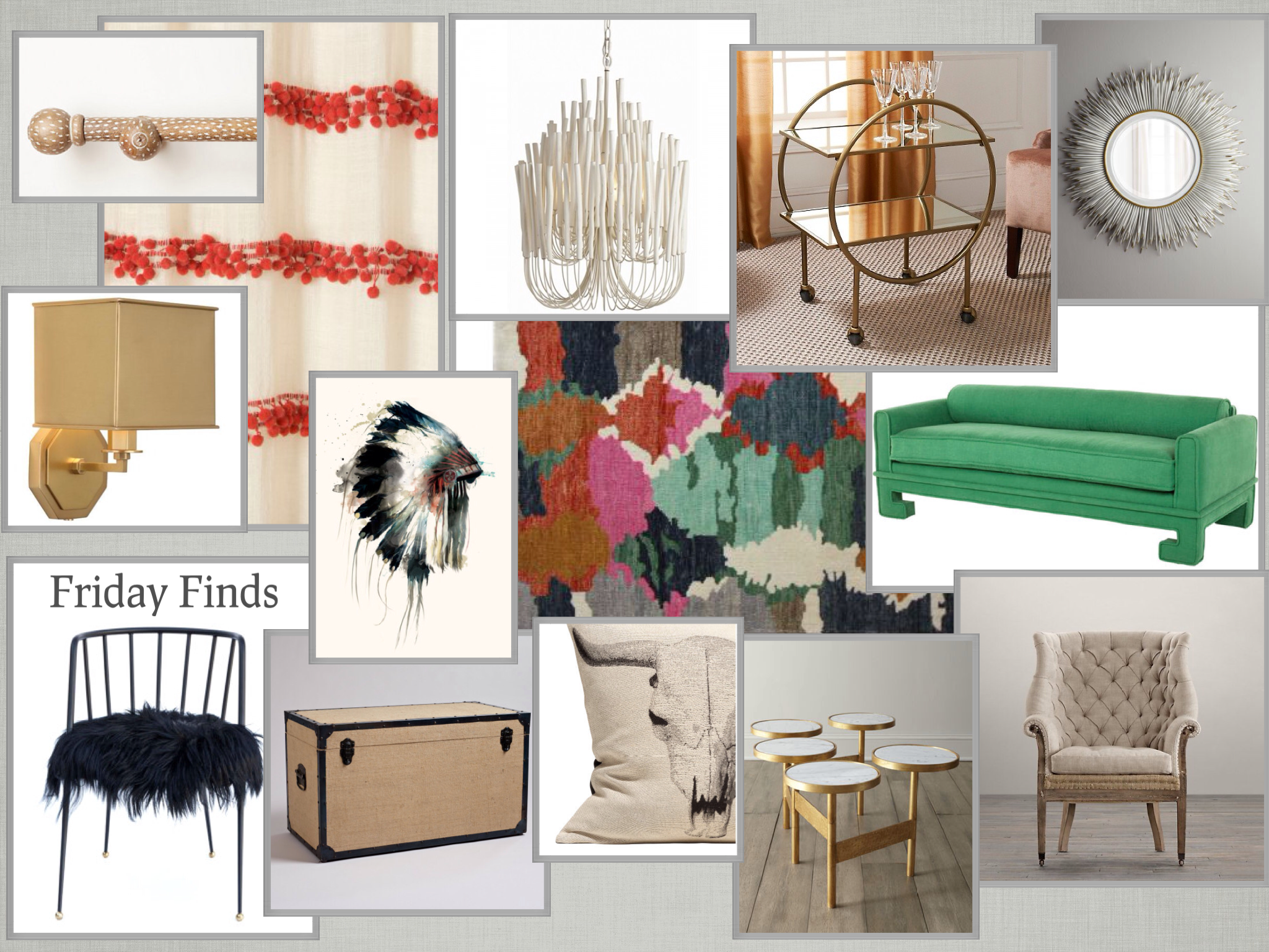 Clockwise from left to right:    Anthropologie Speckled Wood Curtain Rod  |  Red and White Striped Pom Pom Curtain  |  Tilly White Chandelier  |  Colin Cowie Gold Brass Bar Cart  |  White Porcupine Needle Sunburst Mirror  |  Kelly Emerald Green Sofa  |  Deconstructed English Wing Chair  |  Brass Gold Marble Circles Coffee Table  |  Vortex Amba Rug  |  Cow Pillow  |  Headdress Stretched Canvas  |  Burlap Steamer Trunk  |  Kelly Wearstler Malibu Chair  |  Mary McDonald Pythagoras Gold Wall Sconce