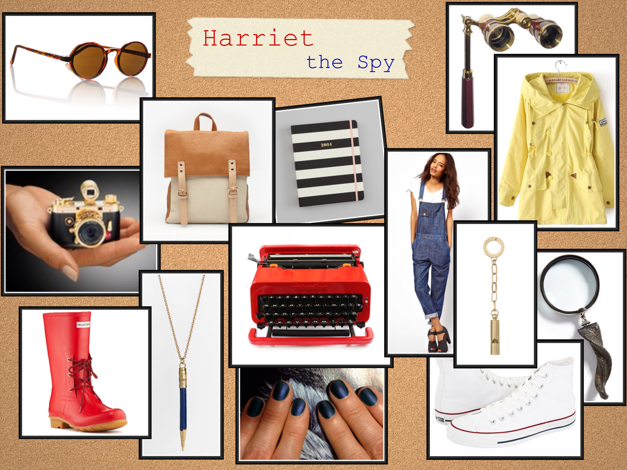 Clockwise from left to right:   Great Gatsby Sunglasses |  Rockland Backpack |  Kate Spade 2014 Monthly Agenda | Opera Glasses Binoculars with Handle |  Yellow Raincoat |  Twisted Horn Handle Magnifying Glass | White Converse High Tops |  Kate Spade Whistle Keychain | ASOS Denim Overalls Pants |  Olivetti Valentine Red Typewriter |  Matte Blue Nail Polish |  Kate Spade Blue Pencil Necklace  |  Red Hunter Rainboots Ackley |  Mini Gold Camera Minox