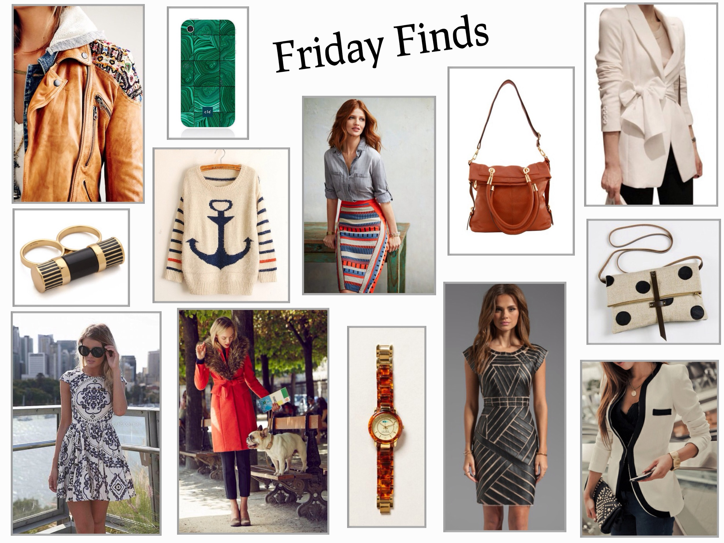 Clockwise from left to right:  Free People Embellished Leather Biker Jacket    Emerald Green Malachite iPhone Case    Nautical Anchor Mohair Sweater    Red White Blue Merida Pencil Skirt    Brown Leather Fold Over Shoulder Bag    Elegant Bowknot White Blazer    Polka Dot Fold Over Clutch    White Blazer With Black Collar    Catherine Malandrino Avalon Leather Dress    Shelby Tortoiseshell Watch    Montaigne Red Trench Coat    Paisley Black and White Summer Dress    Rachel Zoe Barrel Multi Finger Ring