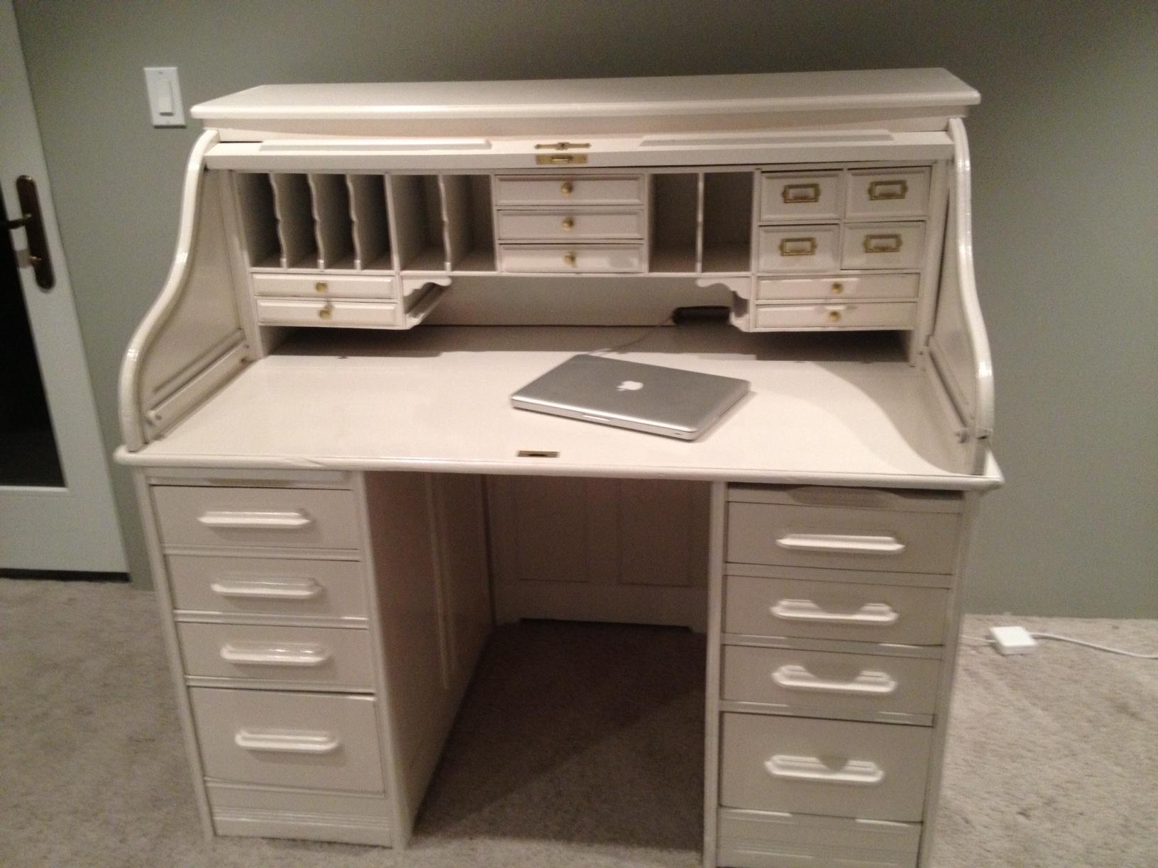 White Lacquer Roll Top Desk.JPG