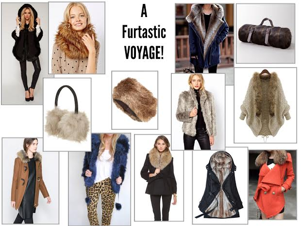 Clockwise from left to right:   Black Wool Faux Fur Trim  |  Faux Fur Funnel Snood  |  Denim Fur Padded Overcoat  |  Faux Fur Mink Travel Blanket  |  Fur Collar Oatmeal Cardigan  |  Red Bowknot Worsted Coat with Faux Fur Lapel  |  Fur Lined Black Raincoat  |  Gray and White Faux Fur Coat  |  Alice + Olivia Evana Coat with Fur Trim  |  Faux Fur Headband  |  Blue Fur Coat  |  Snow Faux Fur Earmuffs  |  Duffle Coat with Fur Hood