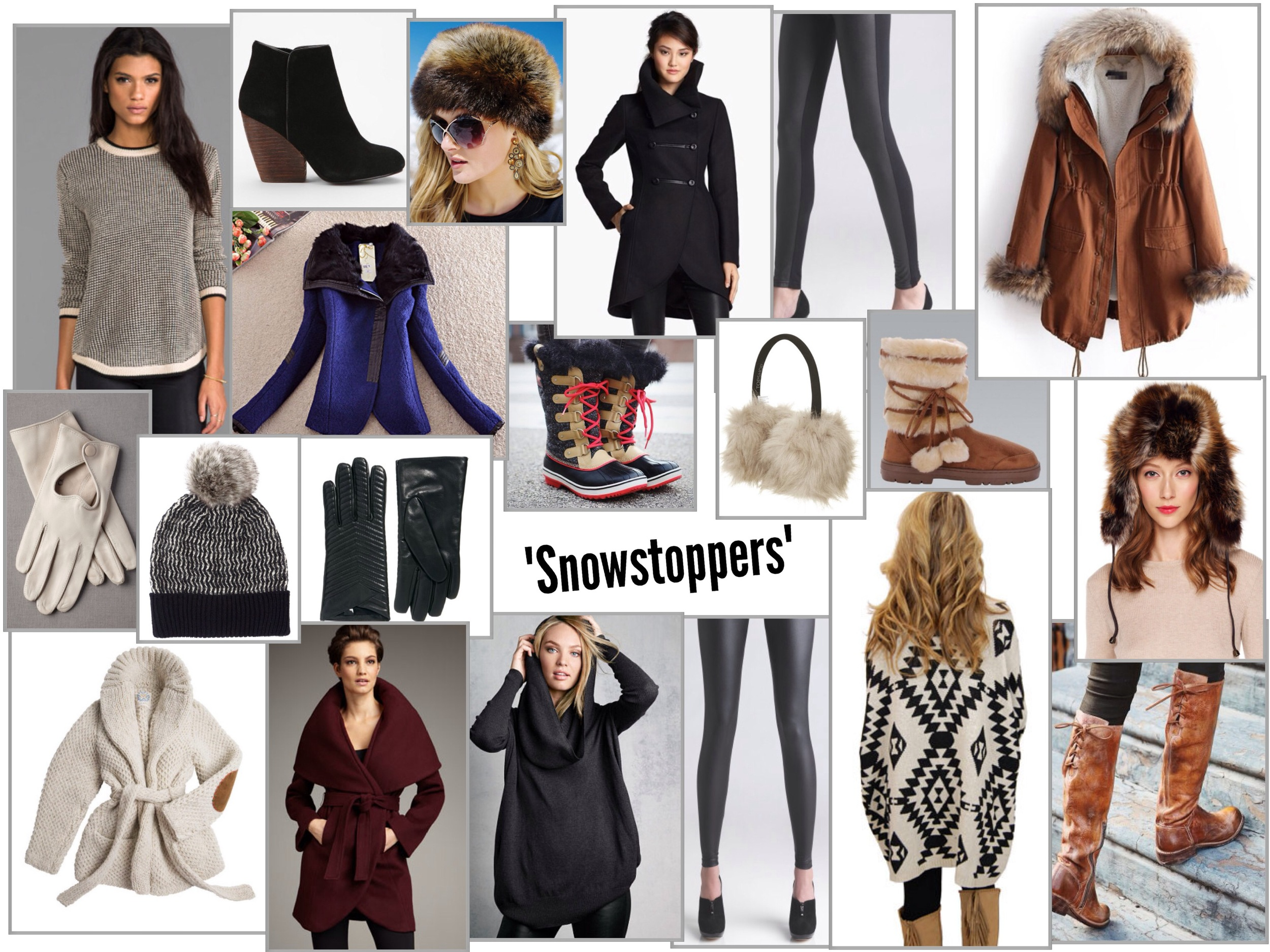 From left to right . Row 1: Simone Sweater |  Ecote Growler Suede Ankle Boot |  Tanuki Faux Fur Russian Hat |  Mackage Black Double Breasted Coat |  Front Face Leather Legging |  Faux Fur Lined Brown Winter Coat Row 2:  Affectionate Adieu White Leather Gloves |  Zig Zag Beanie |  Black Leather Quilted Gloves |  Tofino Herringbone Boot |  SNO Faux Fur Earmuffs |  Brown Faux Fur Tie Up Winter Boots | Fox Faux Fur Patchwork Trapper Hat Row 3: Mexchic Heritage Sweater |  Marla Wrap Coat |  Multi-Way Sweater |  Cracked Faux Leather Legging |  The Sierra Sweater |  Manchester Tall Boot
