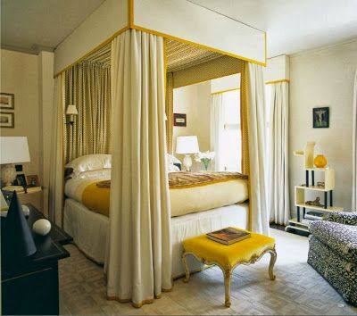 Yellow and White Canopy Bed.jpg