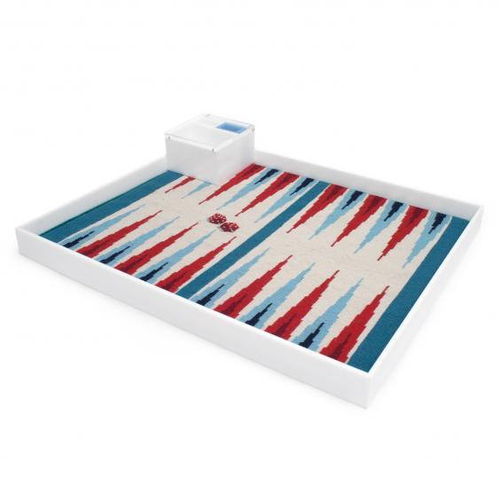 Red and Turquoise Backgammon Set
