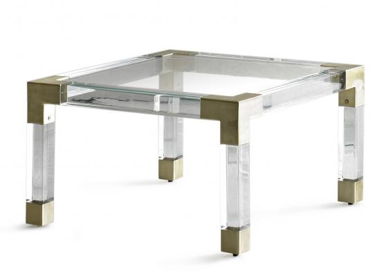 Lucite Brass Cocktail Coffee Table