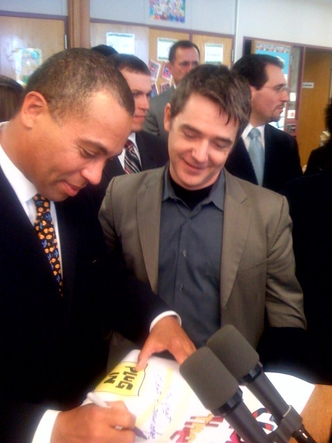 Gov. Deval Patrick with FableVision founder, Peter H. Reynolds.