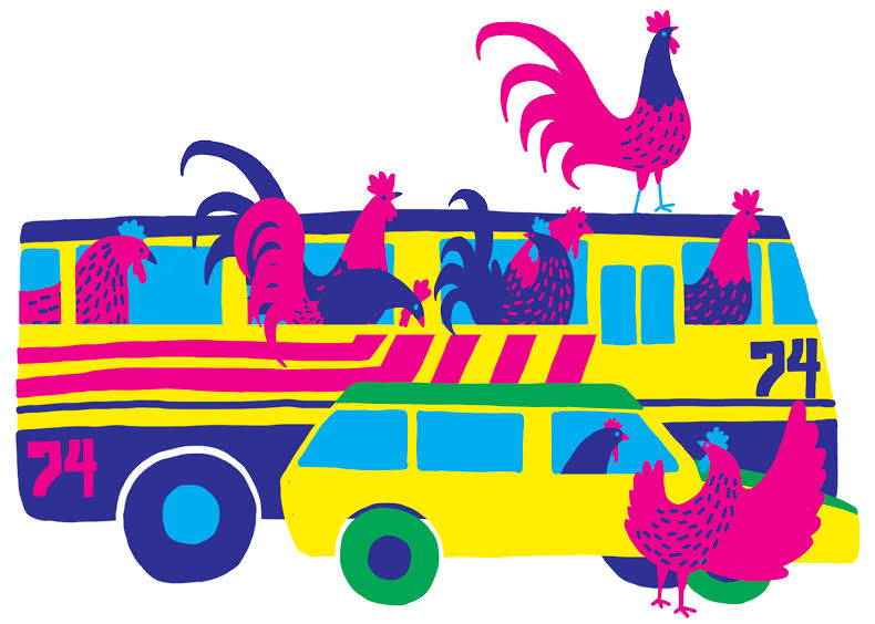 """Chicken Bus"" by Paloma Diaz-Dickson is a digital piece loosely inspired by public   transportation in her hometown, Santa Cruz de la Sierra, Bolivia."