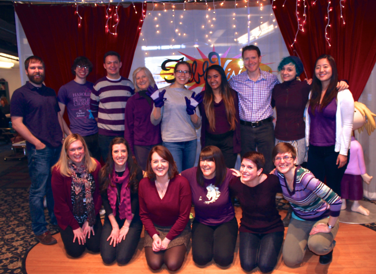 FableVision showing their support by wearing the official IWD's color - purple!