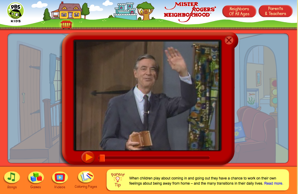 Website Mister Rogers Neighborhood Fablevision Studios