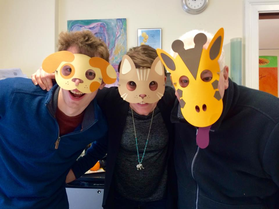 FableVision Learning's Patrick Condon, Andrea Calvin, and Bill Norris, wearing carnival-themed animal masks made in Fab@School Maker Studio.