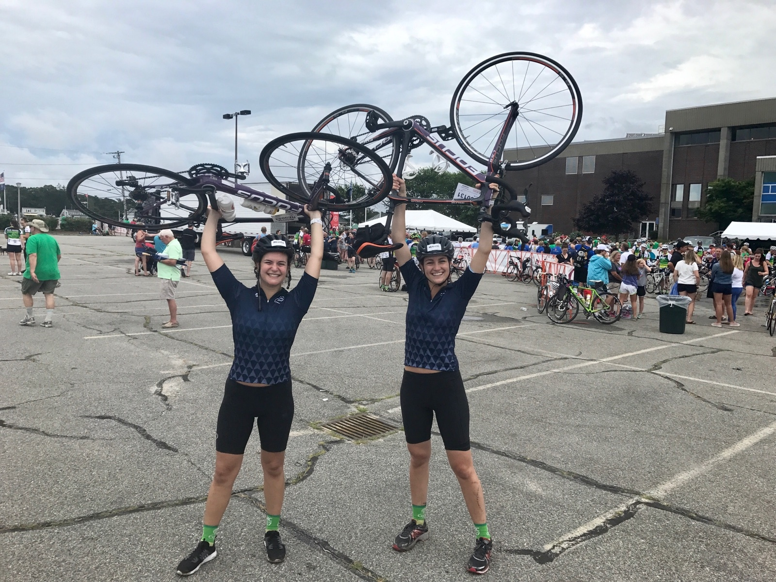 FableVision's Mikaela Johnson (right) and her friend and PMC riding teammate Rebecca Epstein (left).