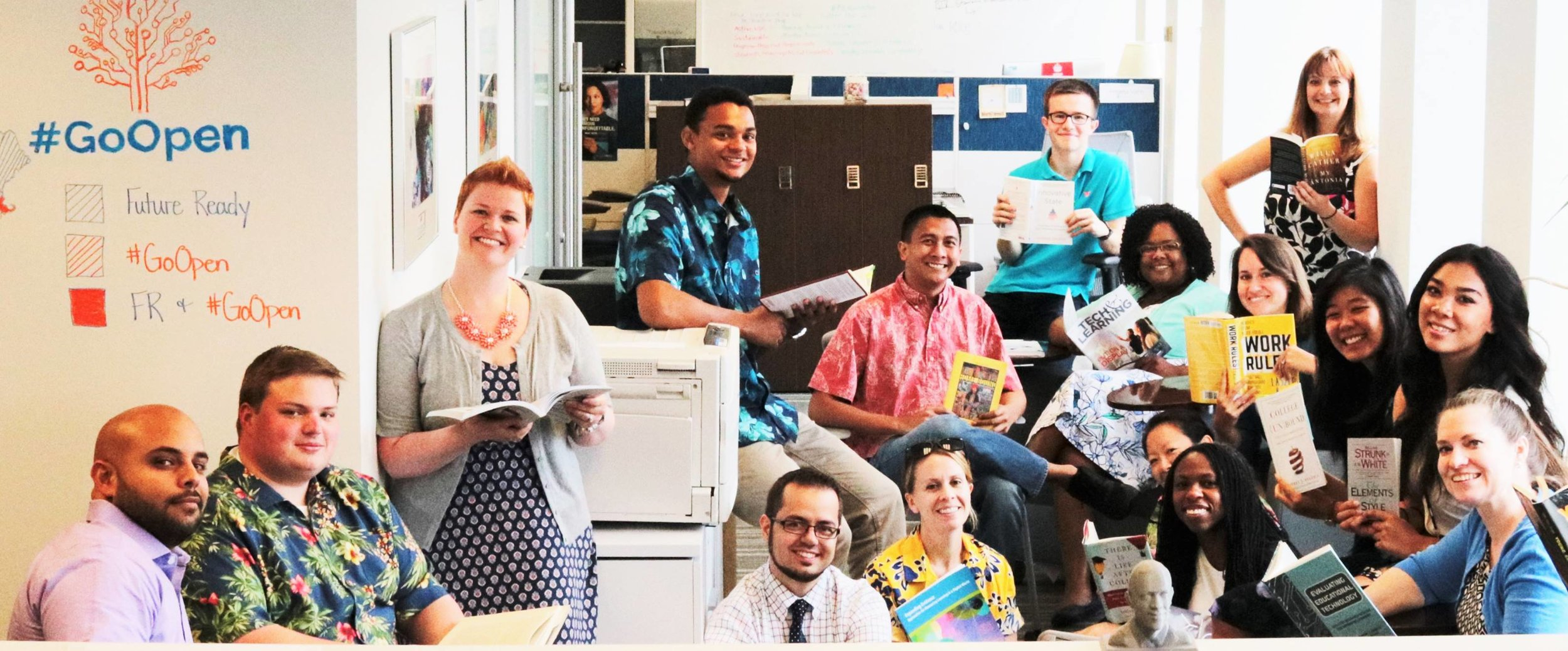 James and the team at the U.S. Department of Education participating in the #ReadWhereYouAre campaign.
