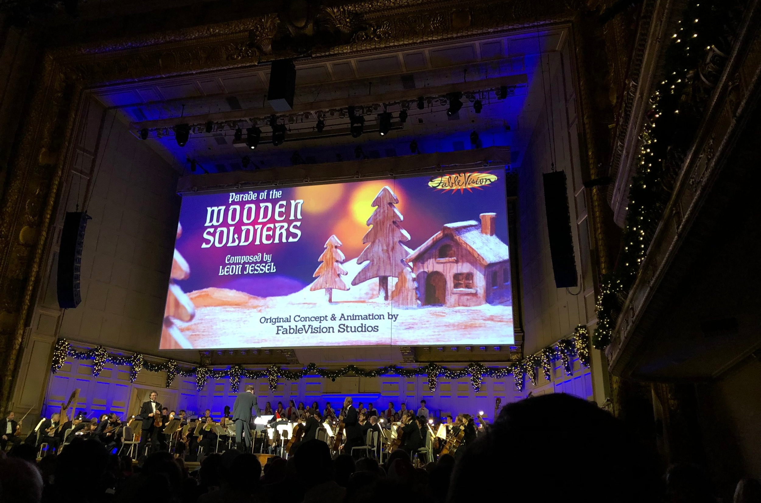 """FableVision's animated accompaniment to Leon Jessel's """"Parade of the Wooden Soldiers"""" on the big screen at the Holiday Pops"""