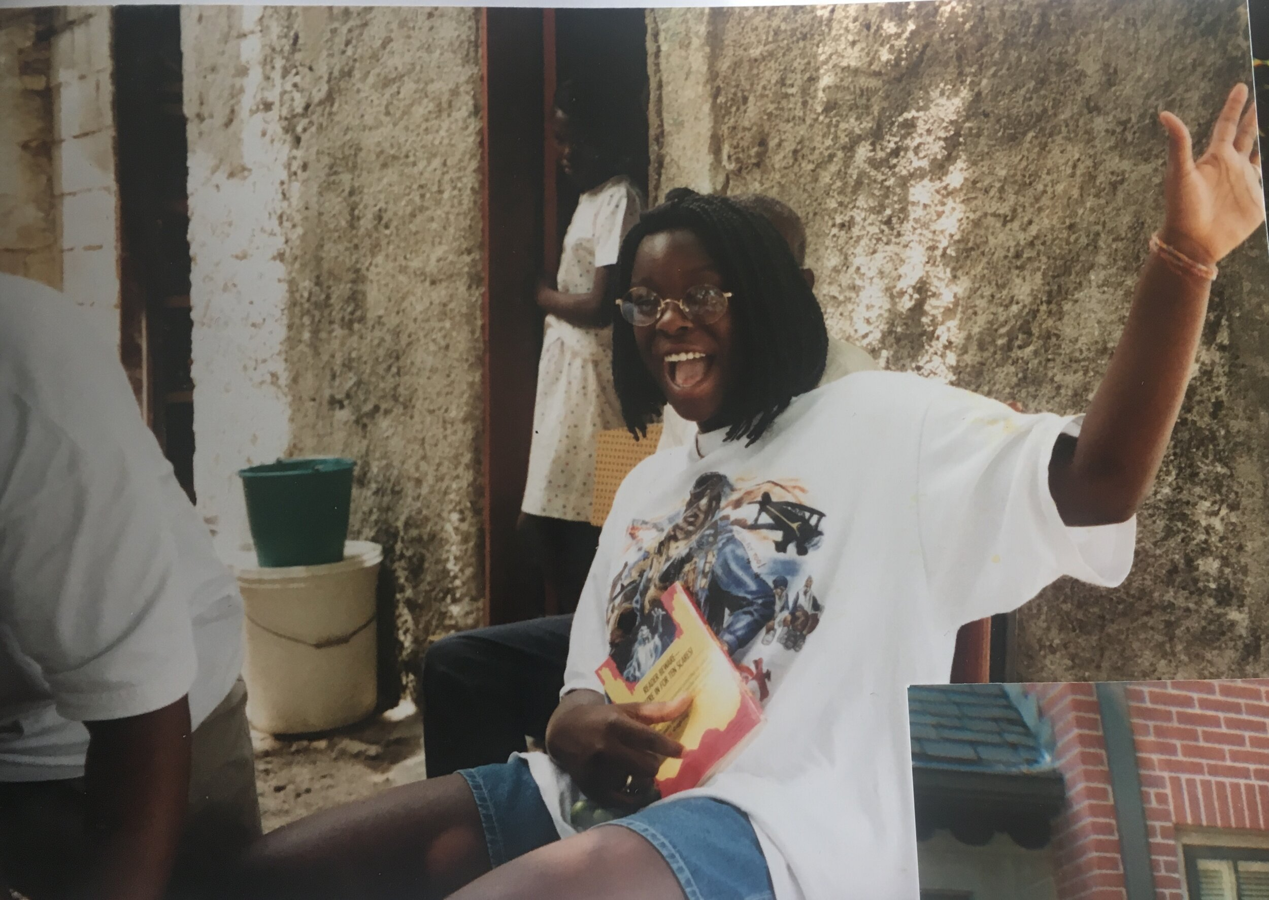 Mia in Haiti in 1996 with a  Goosebumps  book. She always had a book somewhere on her.