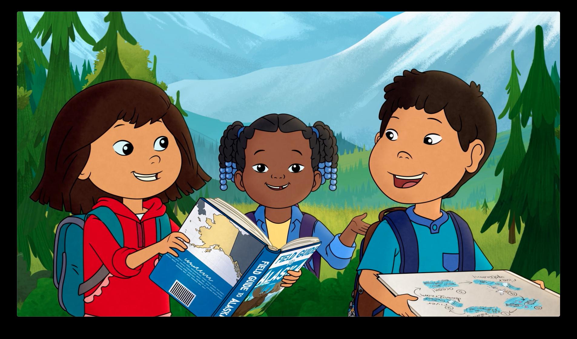 Three main kid characters of  Molly of Denali , Molly, Tooey, and Trini.