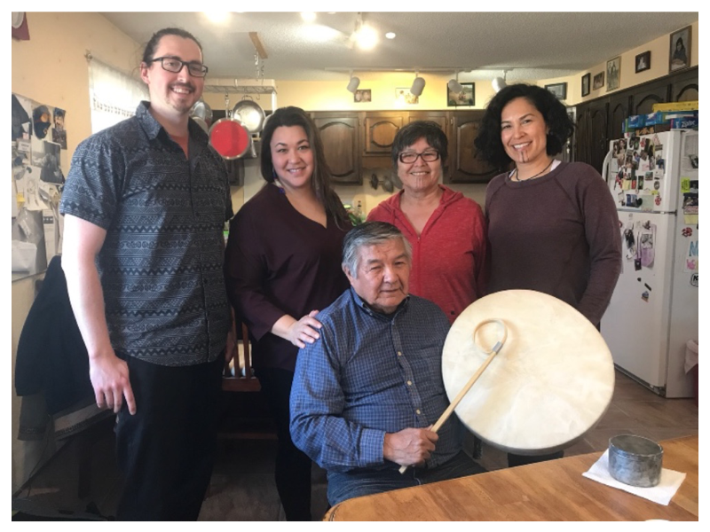 Core Alaska Native Advisory Group. Pictured from left to right: Dewey Kk'ołeyo Hoffman, Rochelle Adams, Elder Luke Titus (seated), Adeline P. Raboff. Also pictured, Creative Producer Princess Daazhraii Johnson (far right).