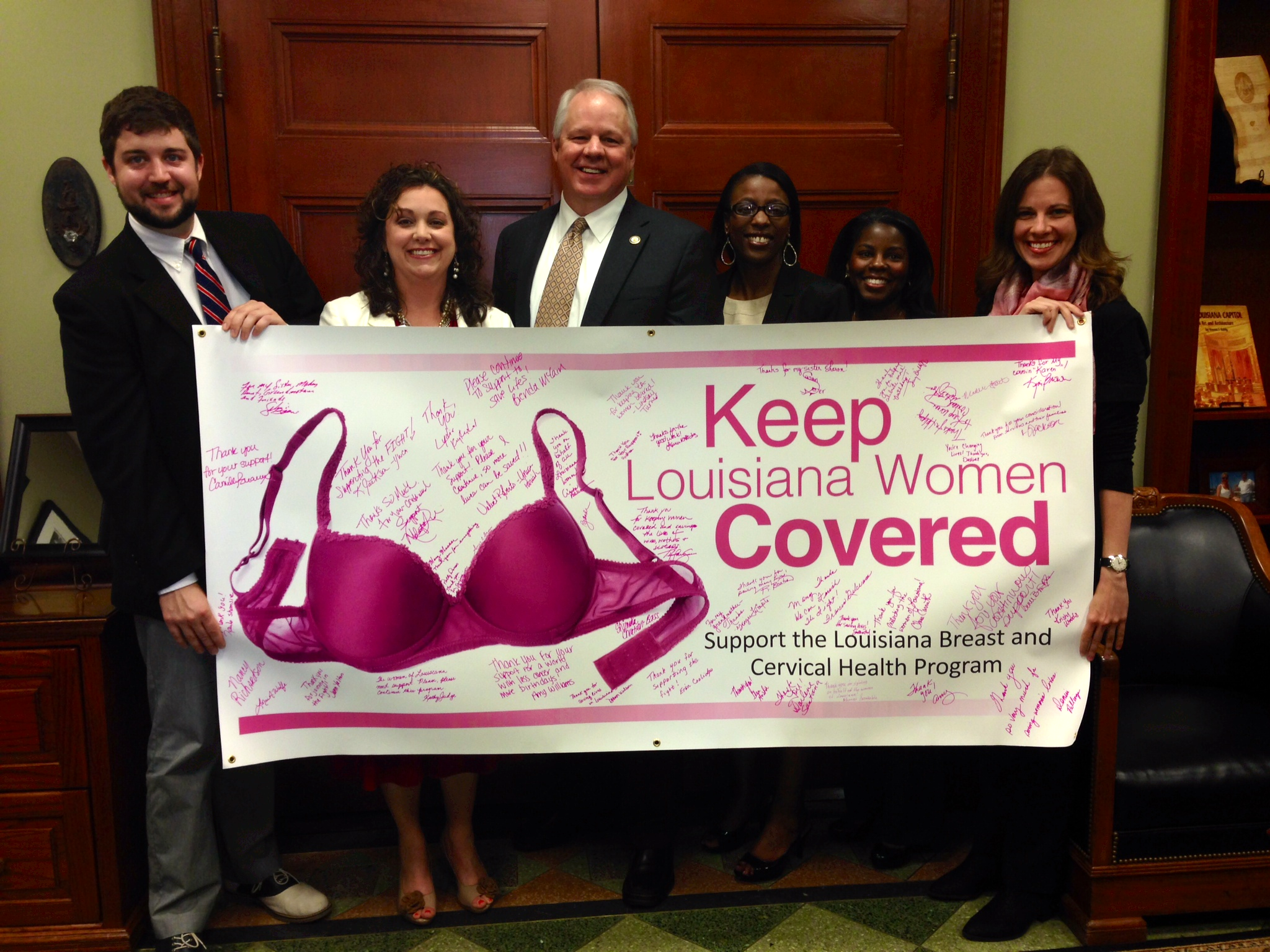 Pictured, left to right: Ryan West, American Cancer Society; Heather Blanchard, Acadiana Affiliate of Susan G. Komen; House Speaker Chuck Kleckley; Nannozi Ssenkoloto, LBCHP Program Manager; Tiffany Carriere, Baton Rouge Affiliate of Susan G. Komen; and Lydia Kuykendal, Louisiana Cancer Prevention and Control Program Policy Coordinator. April 2014.