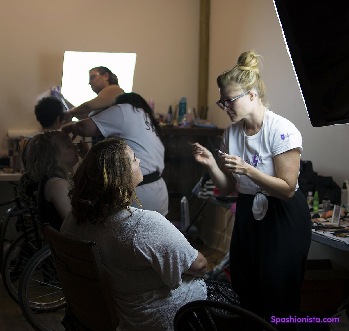 Clockwise from the top: Lani Barrett, hair; Pamela Hawk, makeup; Janelle Wood, makeup; Heidi Oechsel, model; Beth Thielman, model; Robbin Sinatra, model.