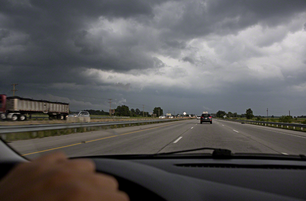 stormy skies outside of indianapolis, in