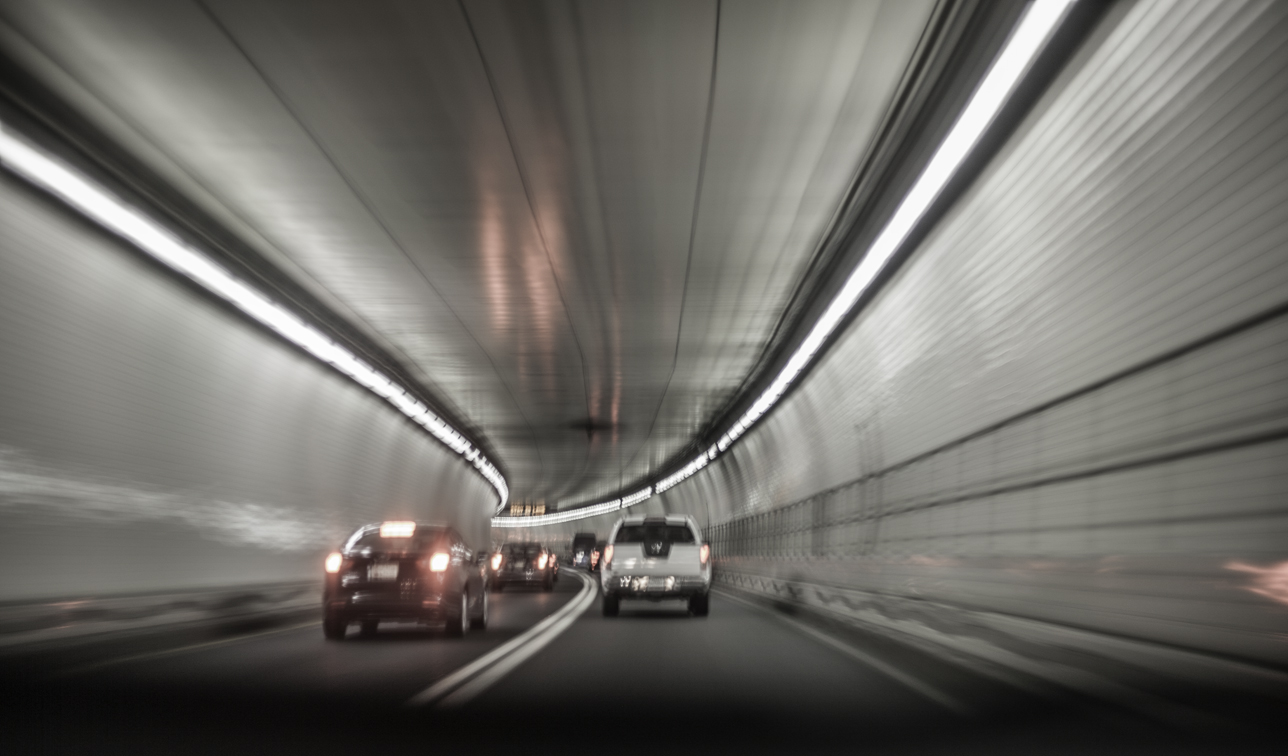 in the bowels of the fort mchenry tunnel, our first of many tolls
