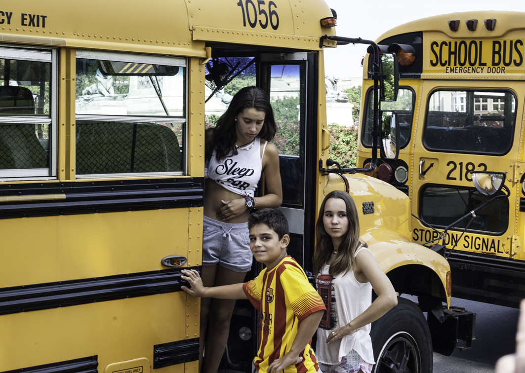 no school buses in their town, so they were oddly excited to get on one
