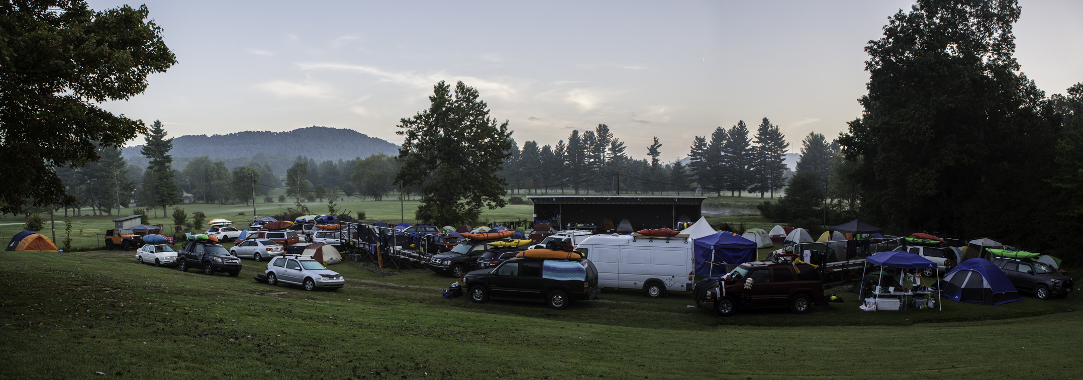 early morning at our little slice of heaven, wv. this was just our small corner of the grounds, there were at least 2000 more campers scattered behind the lens