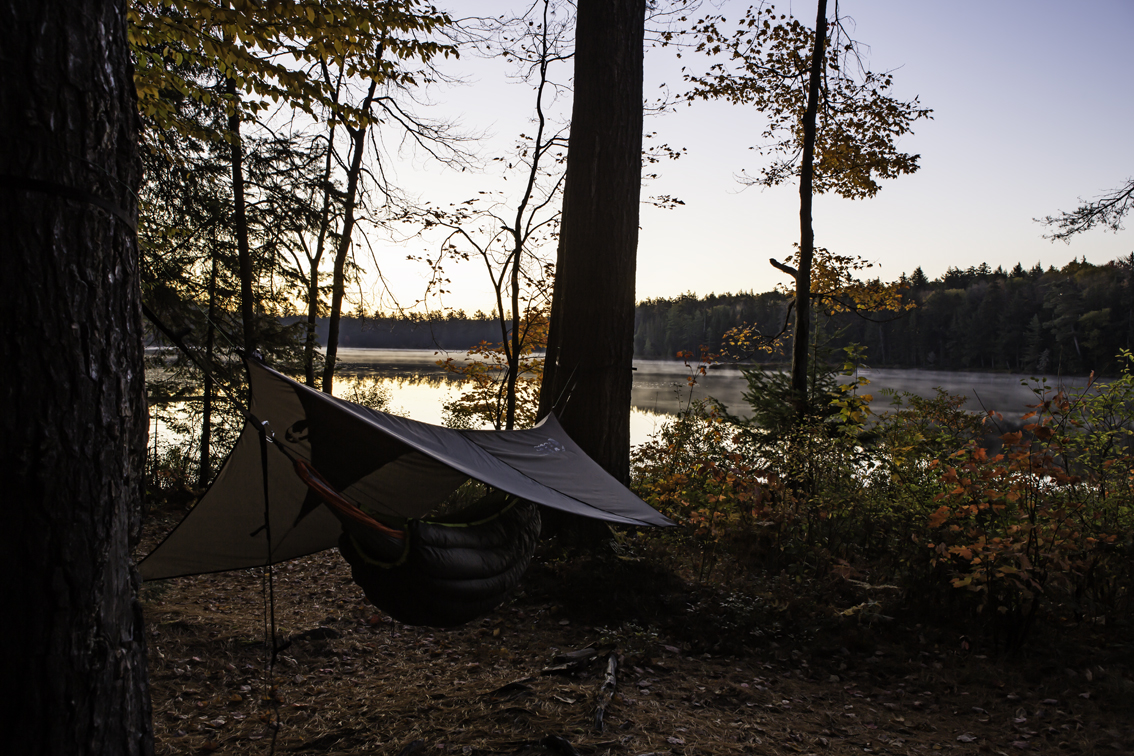 sunrise and my bed for 4 nights - toasty warm and super comfy - sleeping on the ground is bogus