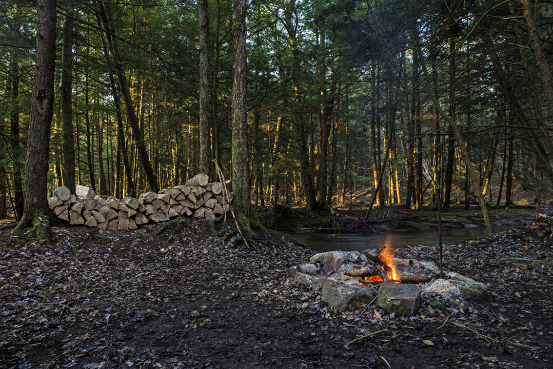 Good morning fire at the site on the first day of trout - normally the pile of wood is four times this amount.