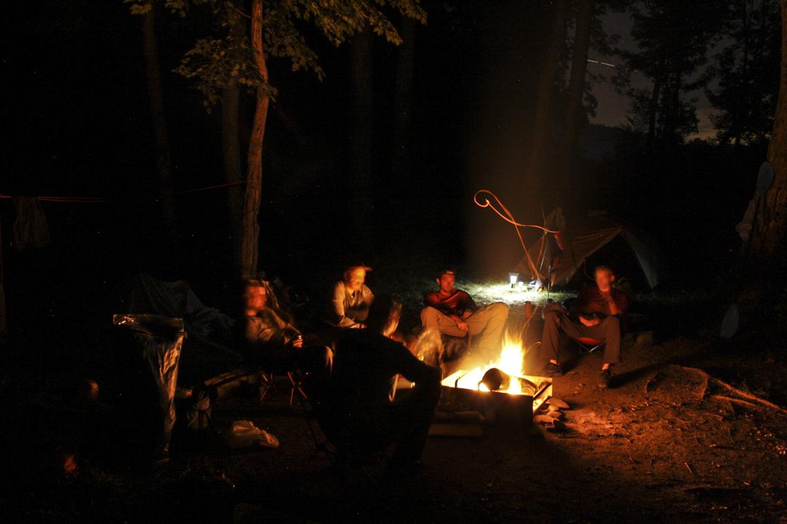 Dinner around the fire.