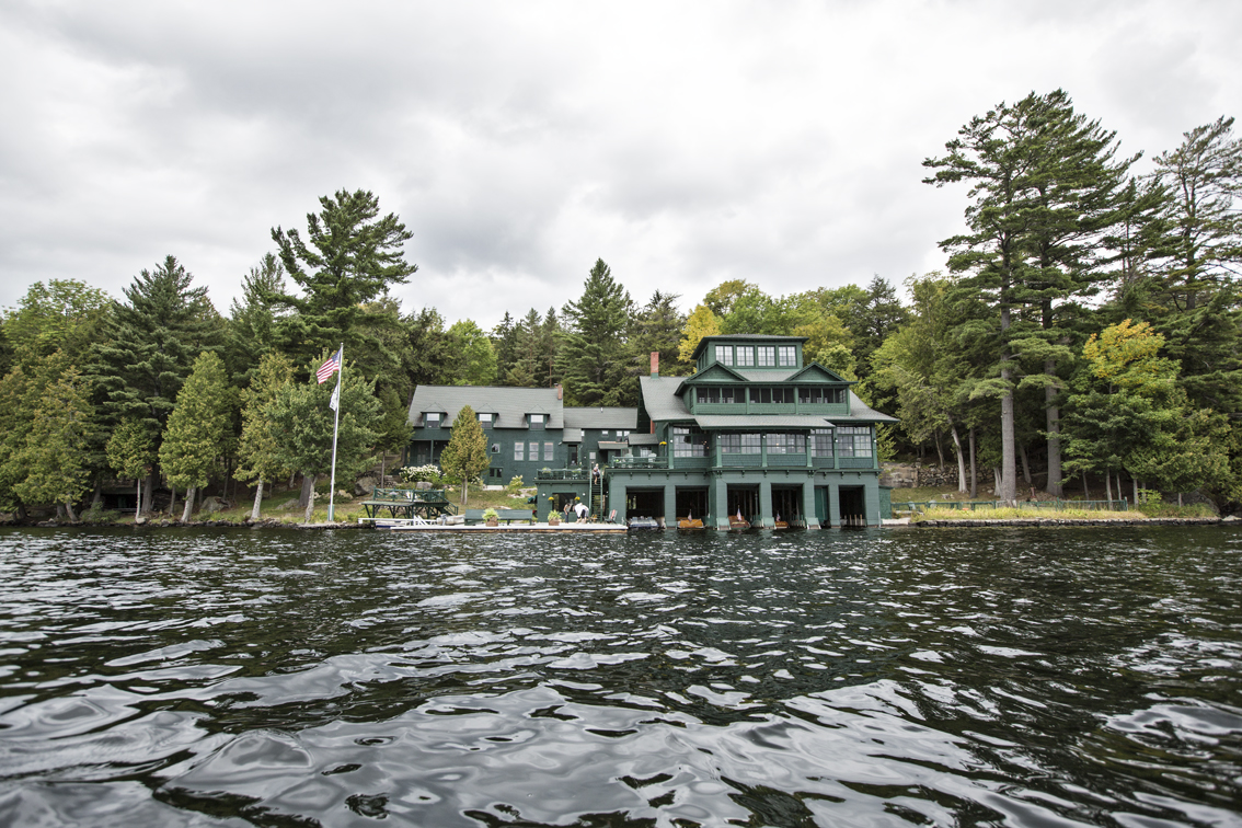 The main lodge at PAOWNYC, the wedding ceremony was held in the great room on the first floor, overlooking the lake.
