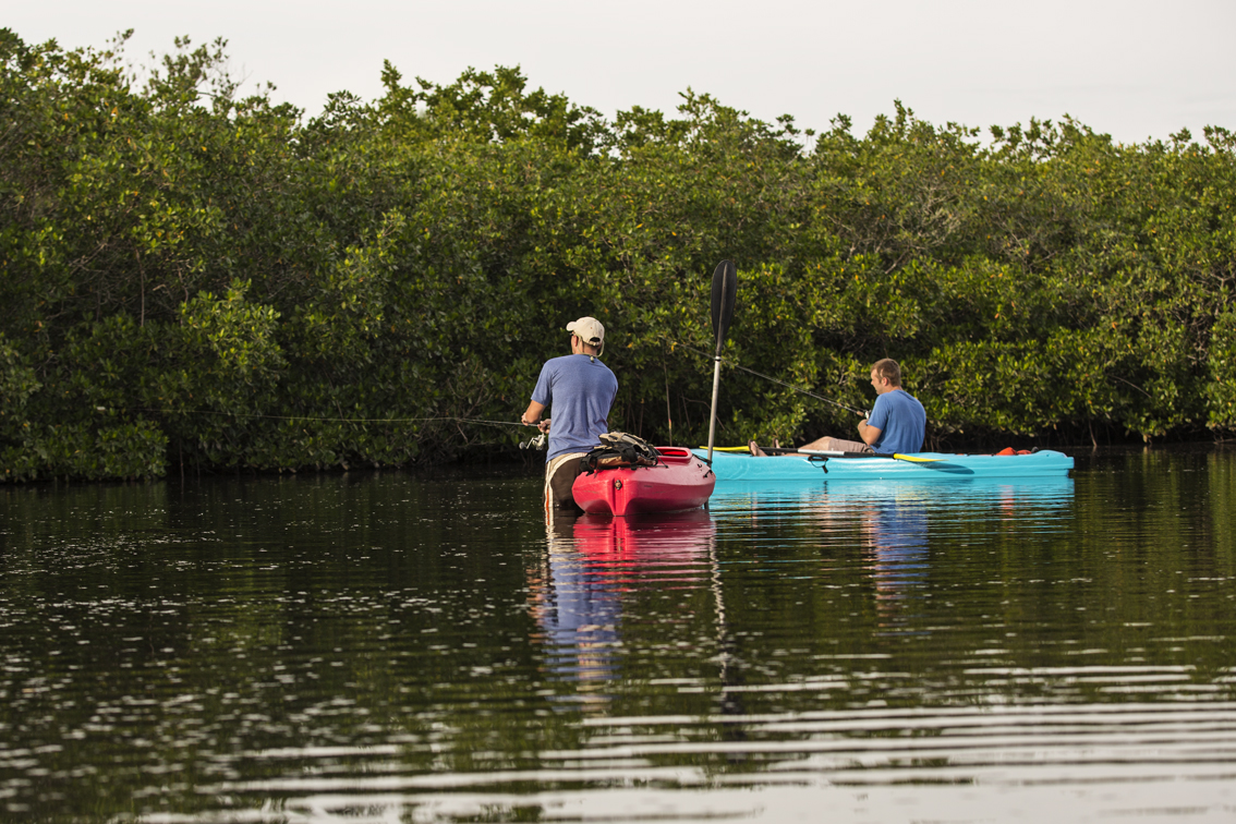 While the old men tended the fire, the cousins went for a paddle and tried to find some more snook.