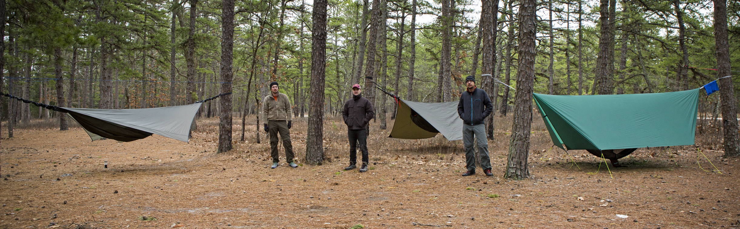 We had a great hang in the Pinebarrens recently. Frank got to use his new hennessy hammock and 0 degree bag, Loren tested out his new underquilt, and I got to try out the aquaquest tarp that I modified to use with my hammock for foul weather, it now has doors.