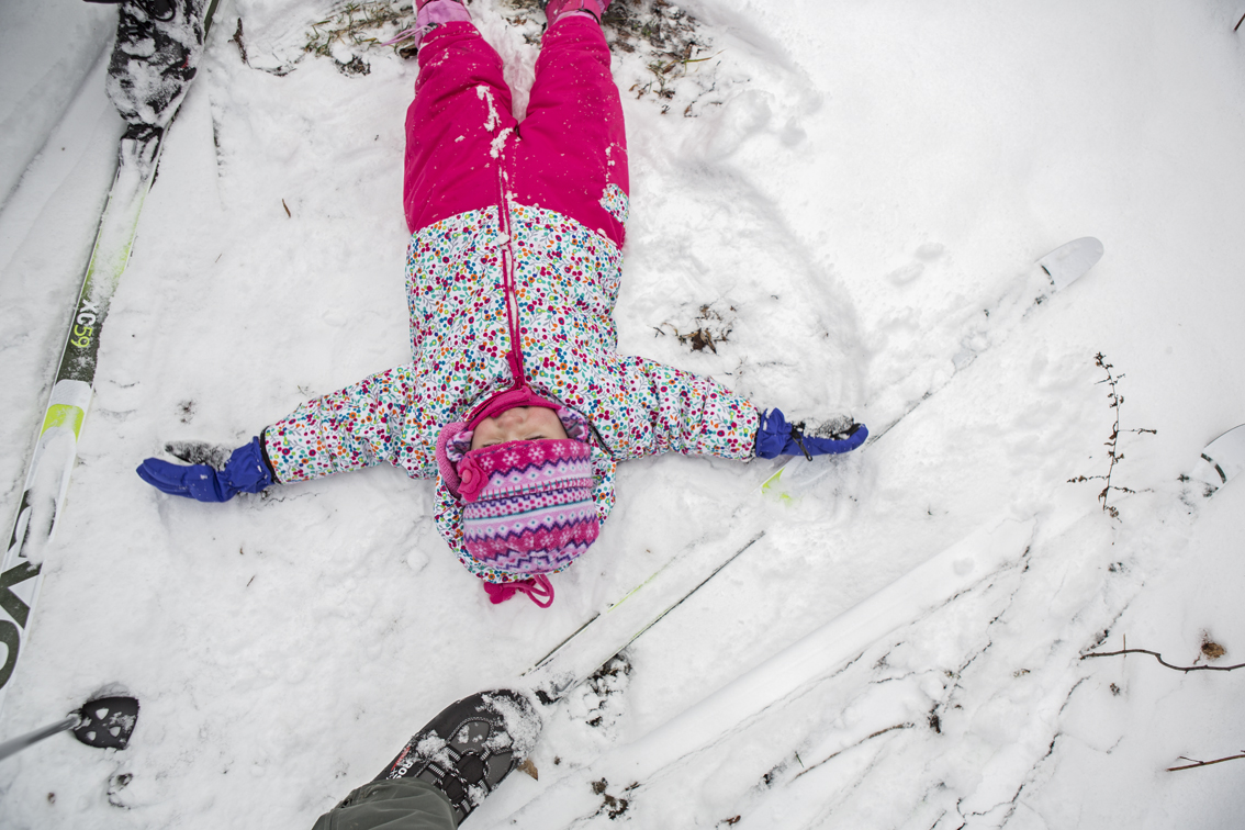 She fell out around a bend and immediately began doing snow angels.