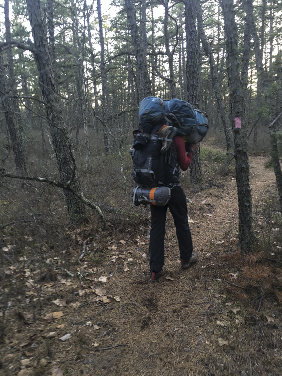 Two packs. This is what you do - when you have greatly misjudged mileage and your partner is over hiking - to keep the peace. I must've carried 70 plus pounds for 3/4 of a mile like this.