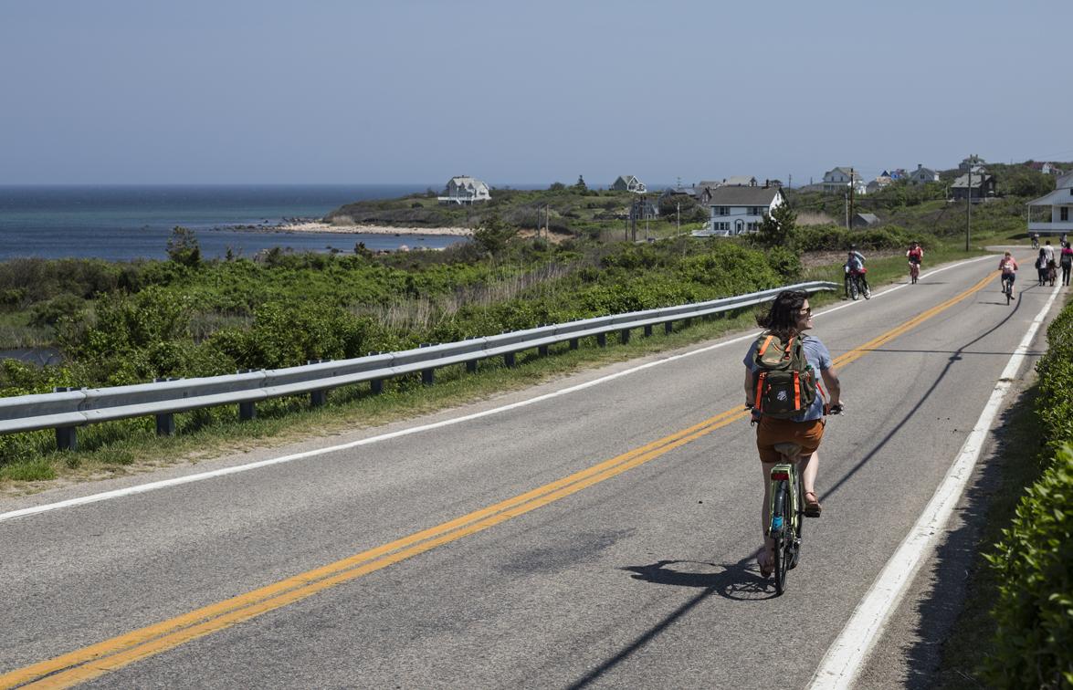 Sloane cruising down the road to Mohegan Bluffs.