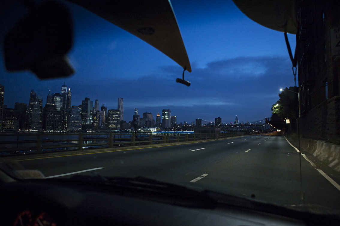 Cruising to our put in at Newtown Creek, from Brooklyn. The highway was oddly quiet at 530 AM.