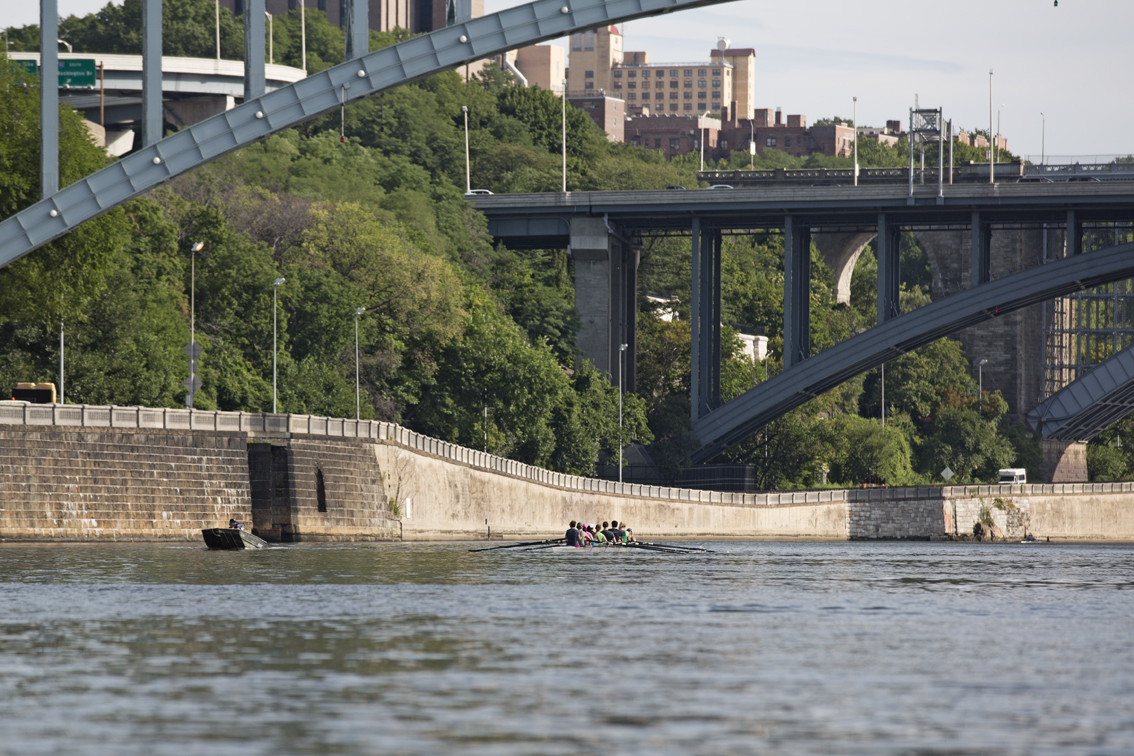 A crew of folks learning to row on the Harlem River. We must've passed at least 5 of these groups, all coming from the  Peter J Sharp Boathouse.  It was good to see some other paddlers. One of those bridges is I-95.
