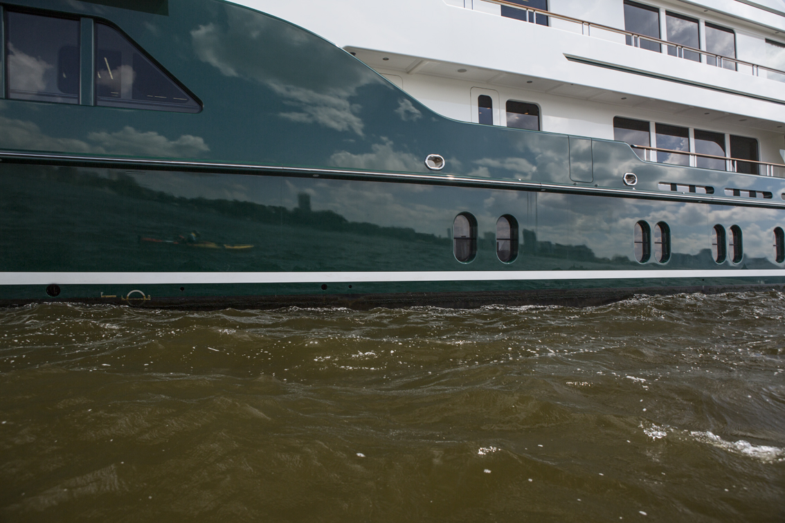Self portrait in the side of a mega yacht.
