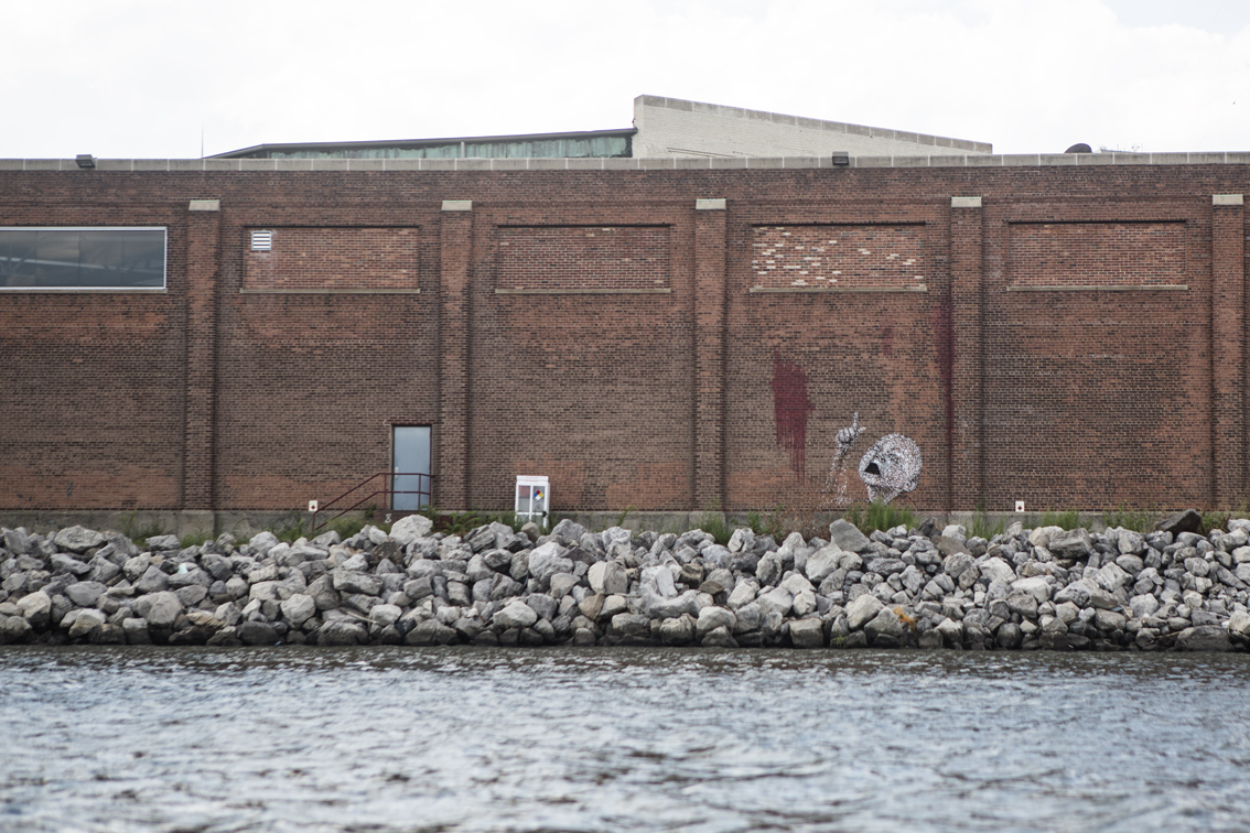 Graffiti at the mouth of Newtown creek. This is how we both felt.